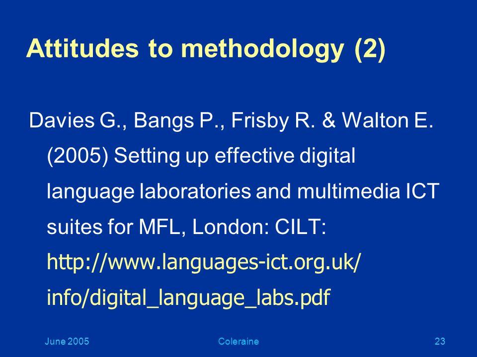 June 2005Coleraine22 Attitudes to methodology (1) Littlemore J.