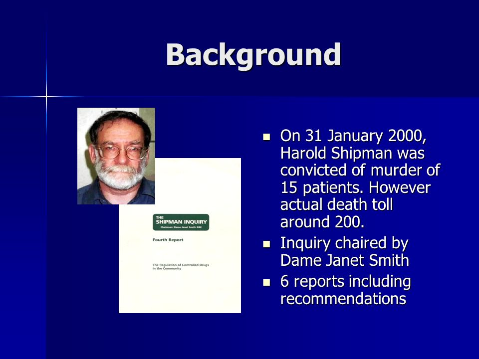 Background On 31 January 2000, Harold Shipman was convicted of murder of 15 patients.
