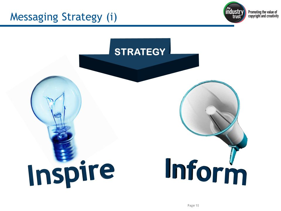Page 10 Messaging Strategy (i) STRATEGY
