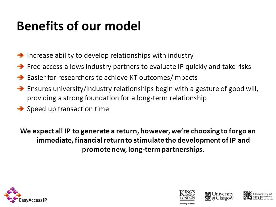 Benefits of our model Increase ability to develop relationships with industry Free access allows industry partners to evaluate IP quickly and take risks Easier for researchers to achieve KT outcomes/impacts Ensures university/industry relationships begin with a gesture of good will, providing a strong foundation for a longterm relationship Speed up transaction time We expect all IP to generate a return, however, were choosing to forgo an immediate, financial return to stimulate the development of IP and promote new, longterm partnerships.