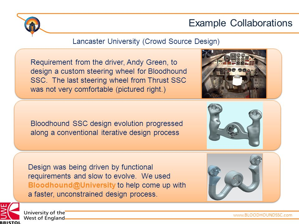 ENGINEERING ADVENTUREwww.BLOODHOUNDSSC.com Requirement from the driver, Andy Green, to design a custom steering wheel for Bloodhound SSC.