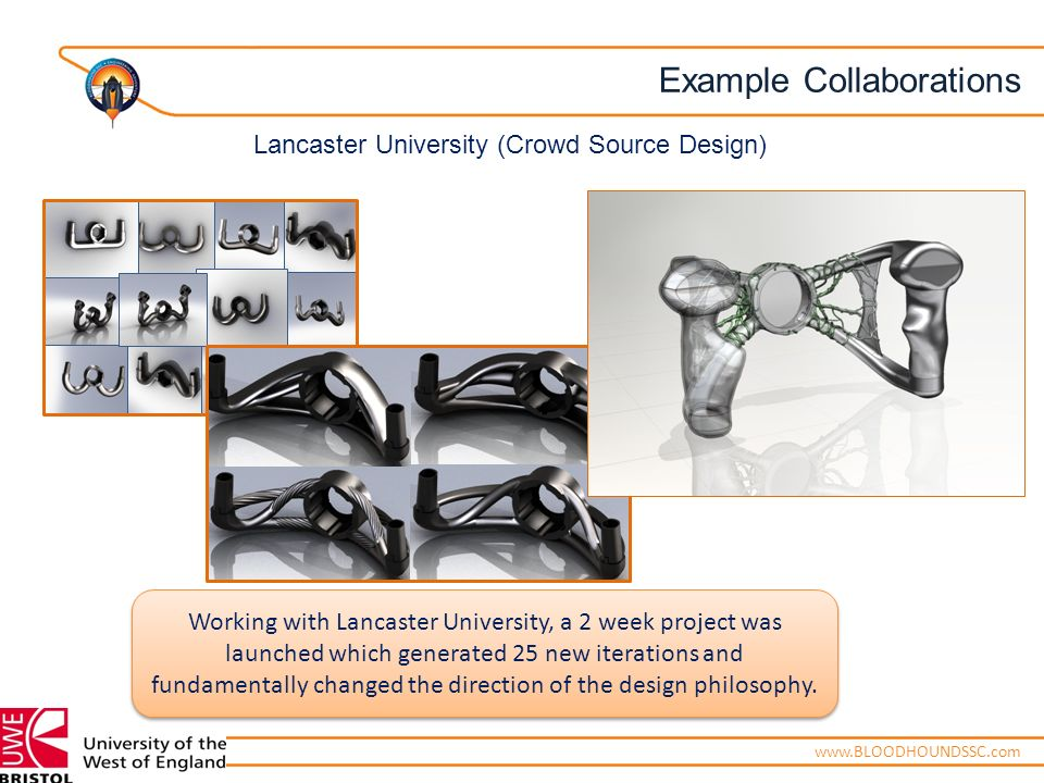 ENGINEERING ADVENTUREwww.BLOODHOUNDSSC.com Working with Lancaster University, a 2 week project was launched which generated 25 new iterations and fundamentally changed the direction of the design philosophy.