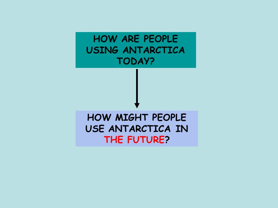 HOW ARE PEOPLE USING ANTARCTICA TODAY? HOW MIGHT PEOPLE USE ANTARCTICA IN THE FUTURE?