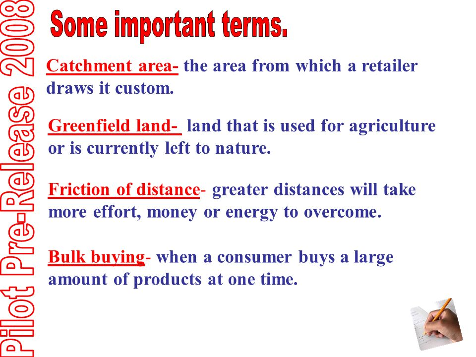 Catchment area- the area from which a retailer draws it custom.