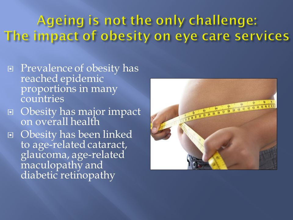 Prevalence of obesity has reached epidemic proportions in many countries Obesity has major impact on overall health Obesity has been linked to age-rel