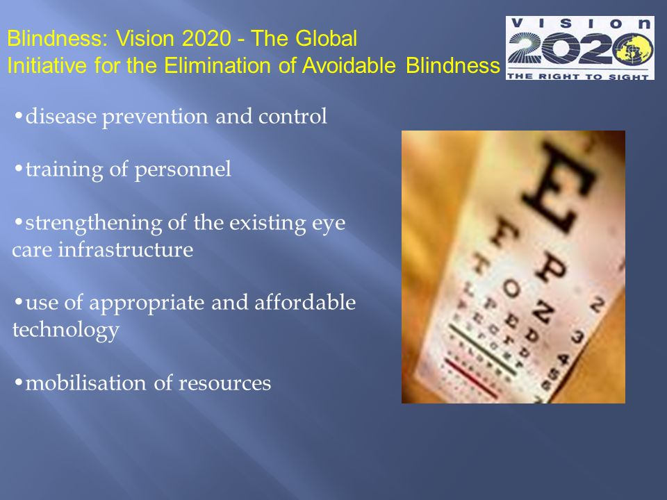 disease prevention and control training of personnel strengthening of the existing eye care infrastructure use of appropriate and affordable technolog
