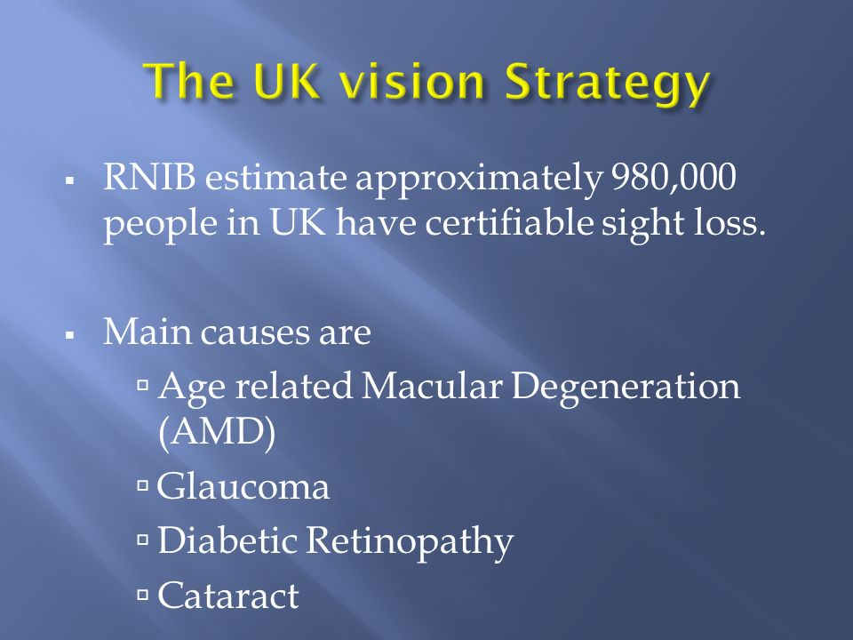 RNIB estimate approximately 980,000 people in UK have certifiable sight loss. Main causes are Age related Macular Degeneration (AMD) Glaucoma Diabetic