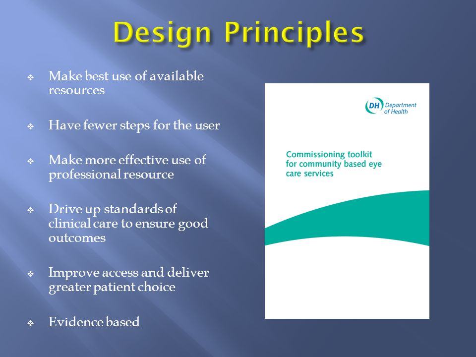 Make best use of available resources Have fewer steps for the user Make more effective use of professional resource Drive up standards of clinical car