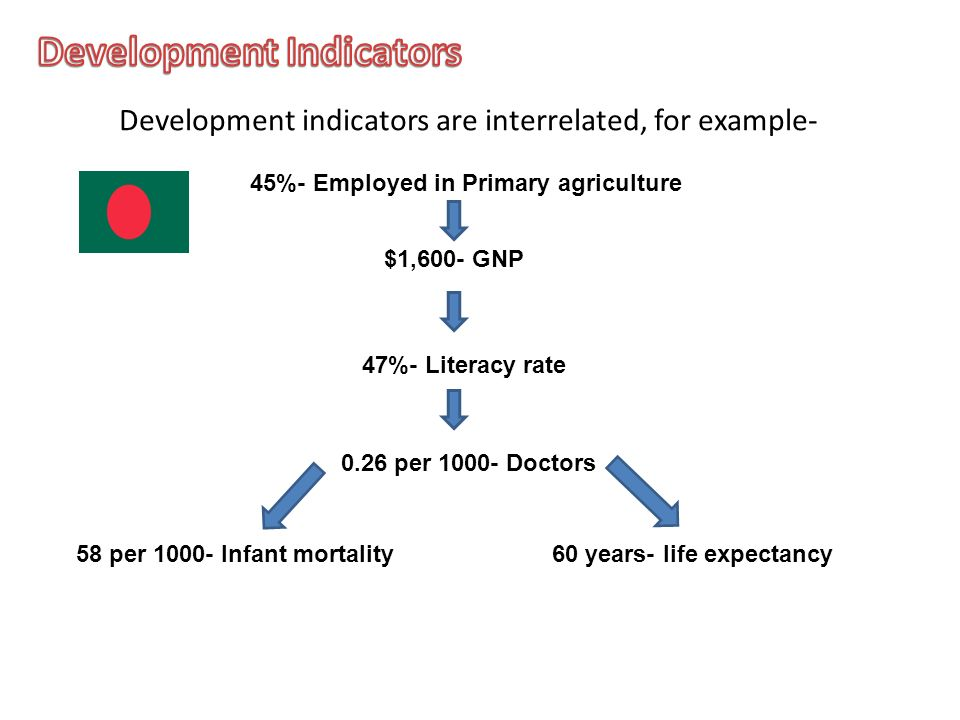 Development indicators are interrelated, for example- $1,600- GNP 45%- Employed in Primary agriculture 0.26 per 1000- Doctors 58 per 1000- Infant mortality60 years- life expectancy 47%- Literacy rate