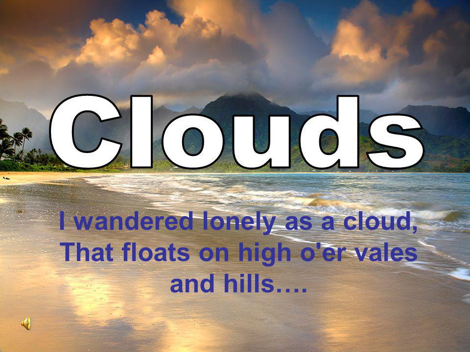 I wandered lonely as a cloud, That floats on high o'er vales and hills….