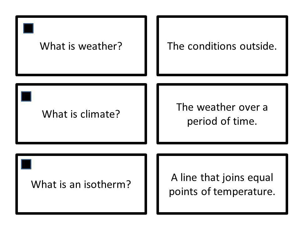 What is weather?The conditions outside. What is climate? The weather over a period of time. What is an isotherm? A line that joins equal points of tem