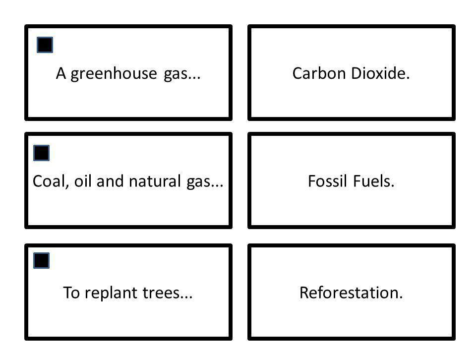A greenhouse gas...Carbon Dioxide. Coal, oil and natural gas...Fossil Fuels.