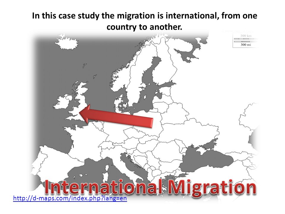 In this case study the migration is international, from one country to another. http://d-maps.com/index.php?lang=en