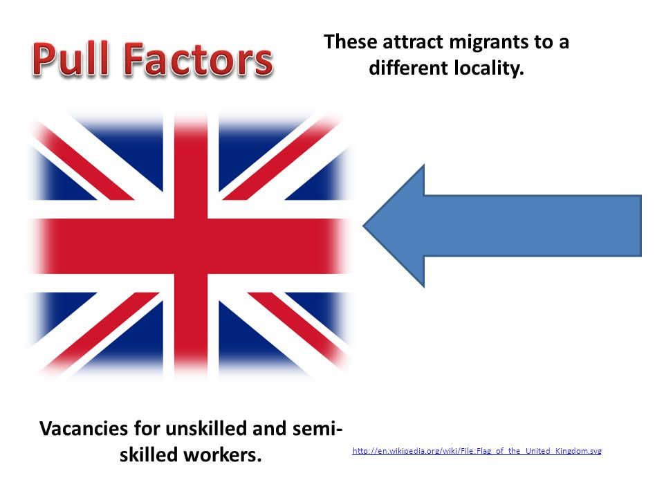 These attract migrants to a different locality. Vacancies for unskilled and semi- skilled workers. http://en.wikipedia.org/wiki/File:Flag_of_the_Unite