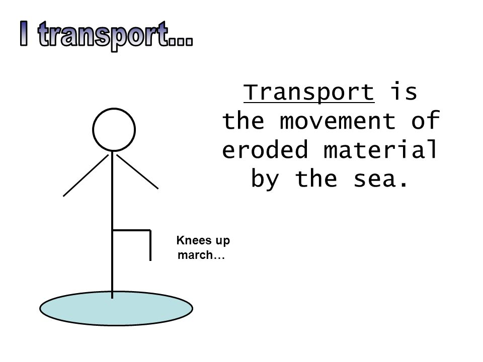 Transport is the movement of eroded material by the sea. Knees up march…