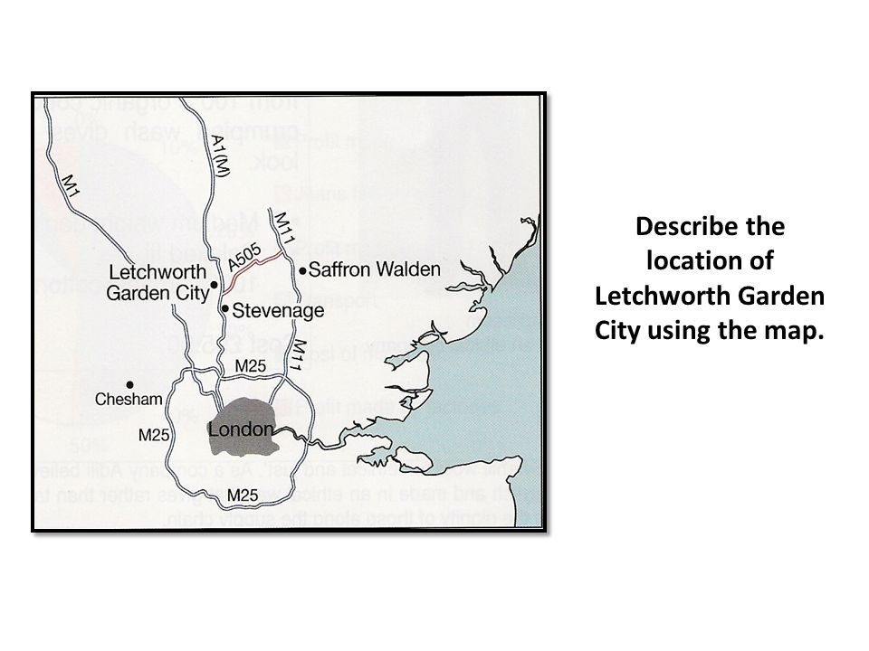 Describe the location of Letchworth Garden City using the map.