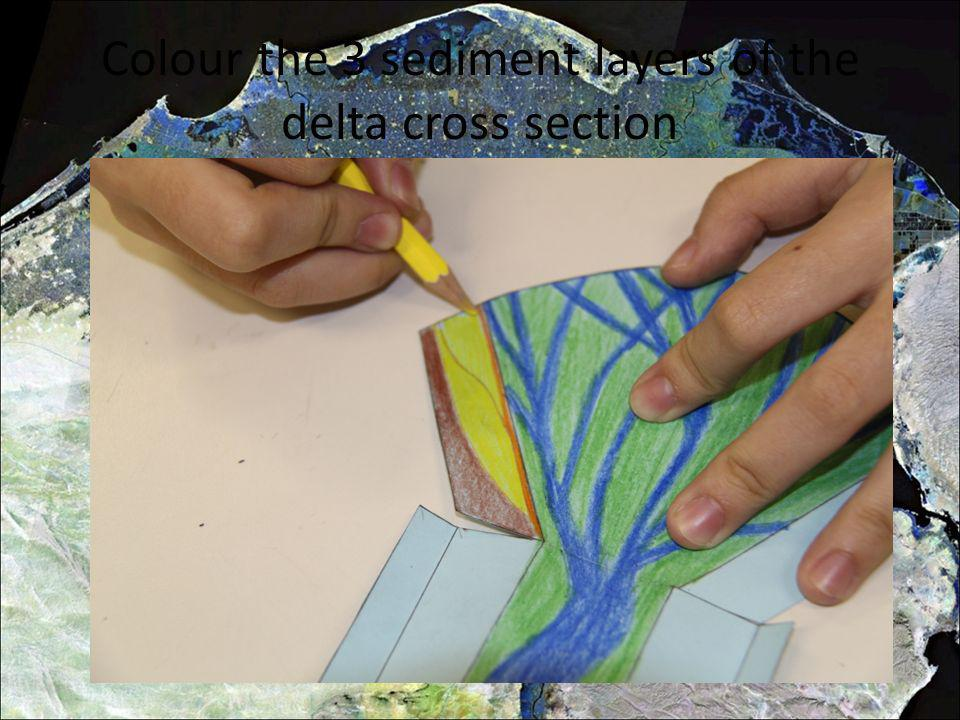 Colour the 3 sediment layers of the delta cross section
