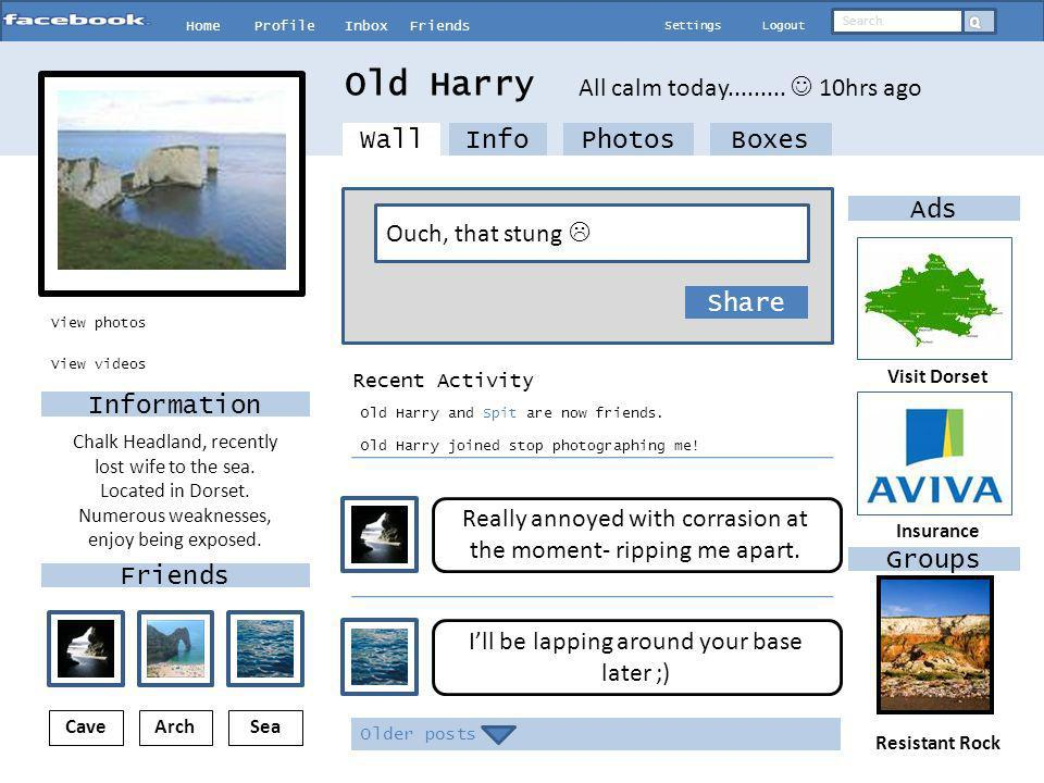 HomeProfileInboxFriends SettingsLogout Search View photos InfoPhotosBoxes Whats on your mind.