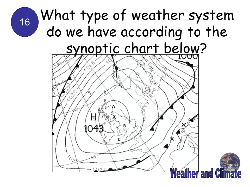 16 What type of weather system do we have according to the synoptic chart below?