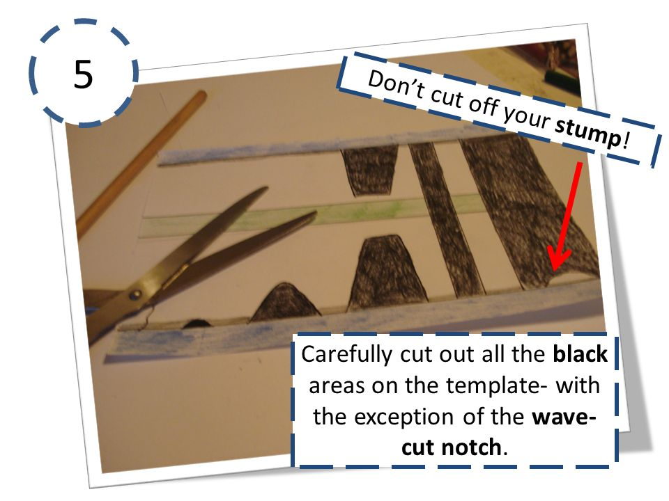 5 Carefully cut out all the black areas on the template- with the exception of the wave- cut notch. Dont cut off your stump!