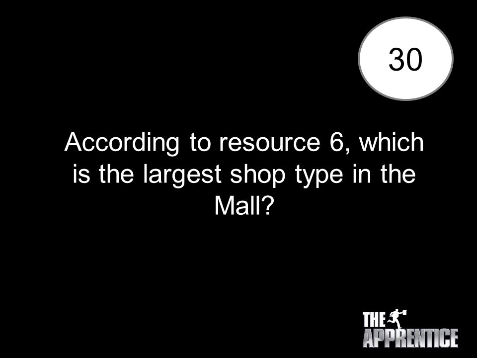 30 According to resource 6, which is the largest shop type in the Mall