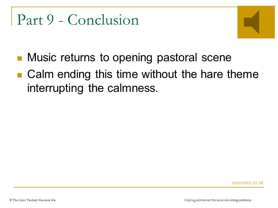 © The Music Teachers Resource Site Copying allowed only for use in subscribing institution Part 8 – Hare wakes up.