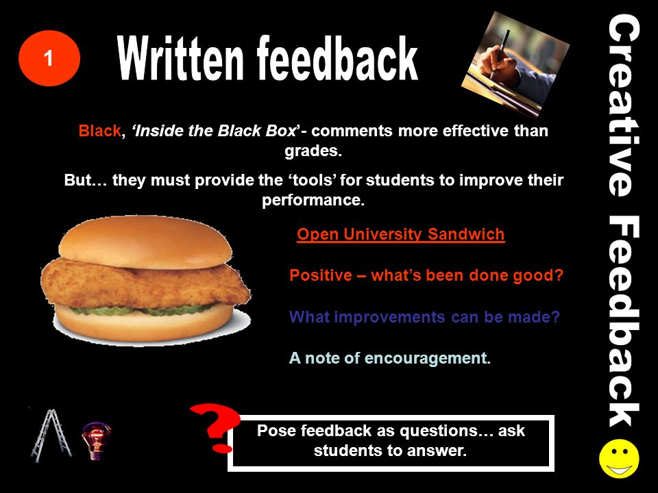 1 Black, Inside the Black Box- comments more effective than grades.