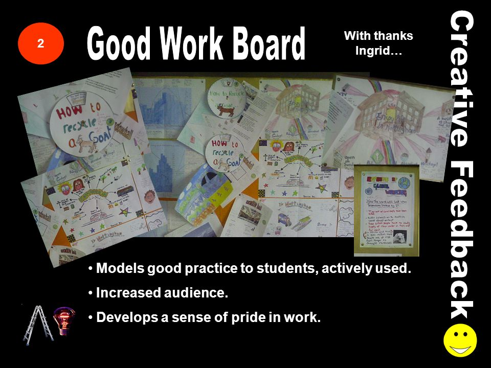 2 With thanks Ingrid… Models good practice to students, actively used.