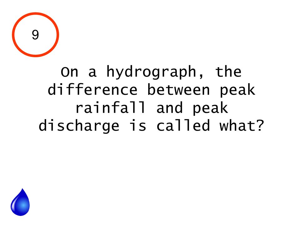 9 On a hydrograph, the difference between peak rainfall and peak discharge is called what