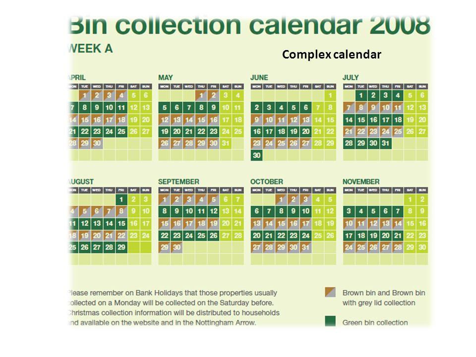 Complex calendar