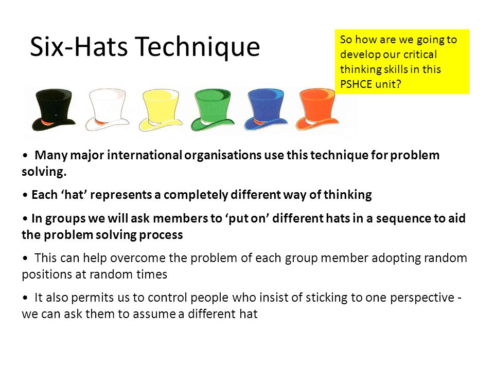 Six-Hats Technique Many major international organisations use this technique for problem solving. Each hat represents a completely different way of th