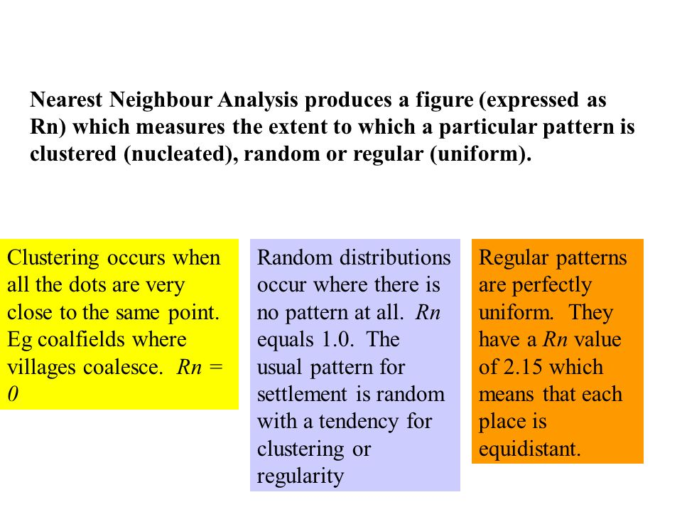 Nearest Neighbour Analysis produces a figure (expressed as Rn) which measures the extent to which a particular pattern is clustered (nucleated), rando