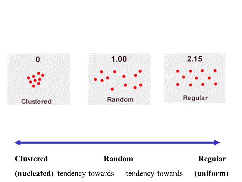 Clustered Random Regular (nucleated) tendency towards tendency towards (uniform)