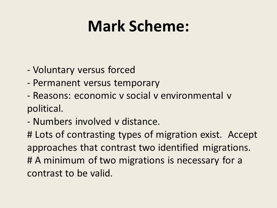 Mark Scheme: - Voluntary versus forced - Permanent versus temporary - Reasons: economic v social v environmental v political.