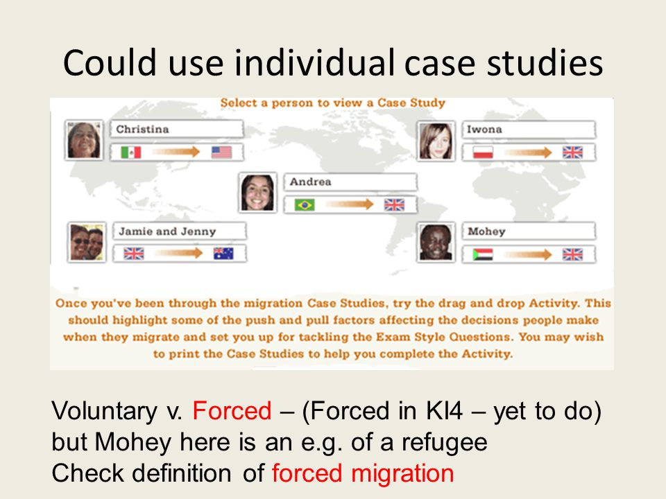 Could use individual case studies Voluntary v. Forced – (Forced in KI4 – yet to do) but Mohey here is an e.g. of a refugee Check definition of forced