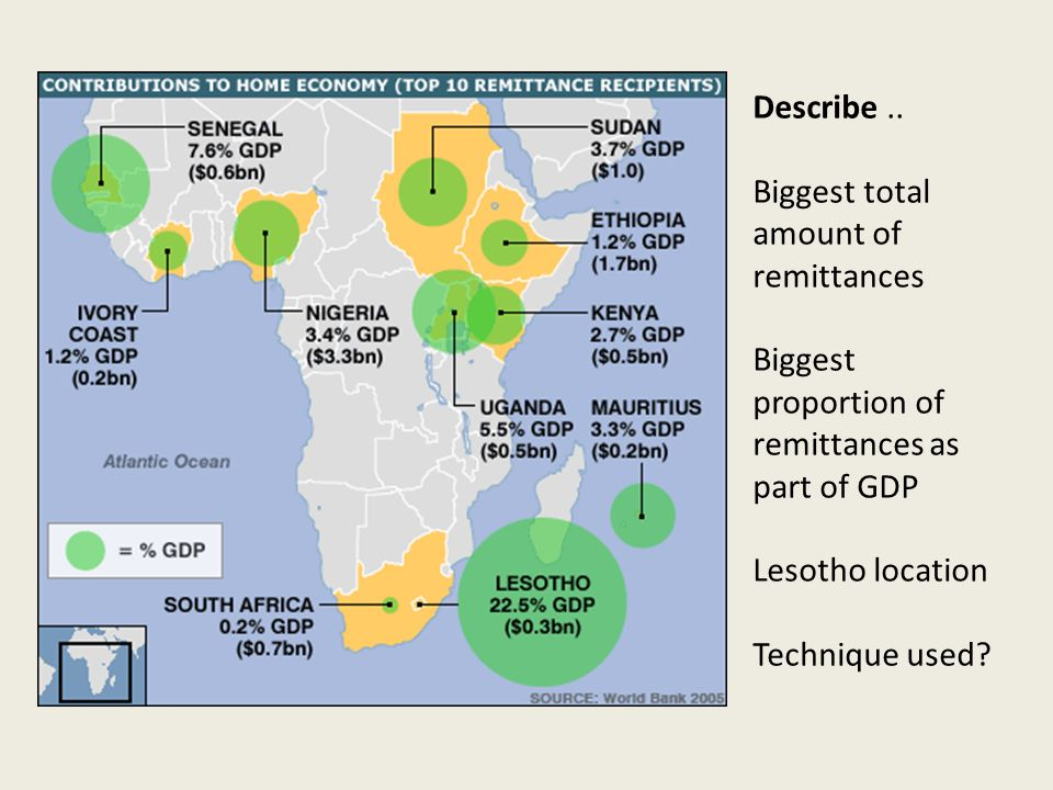 Describe.. Biggest total amount of remittances Biggest proportion of remittances as part of GDP Lesotho location Technique used?