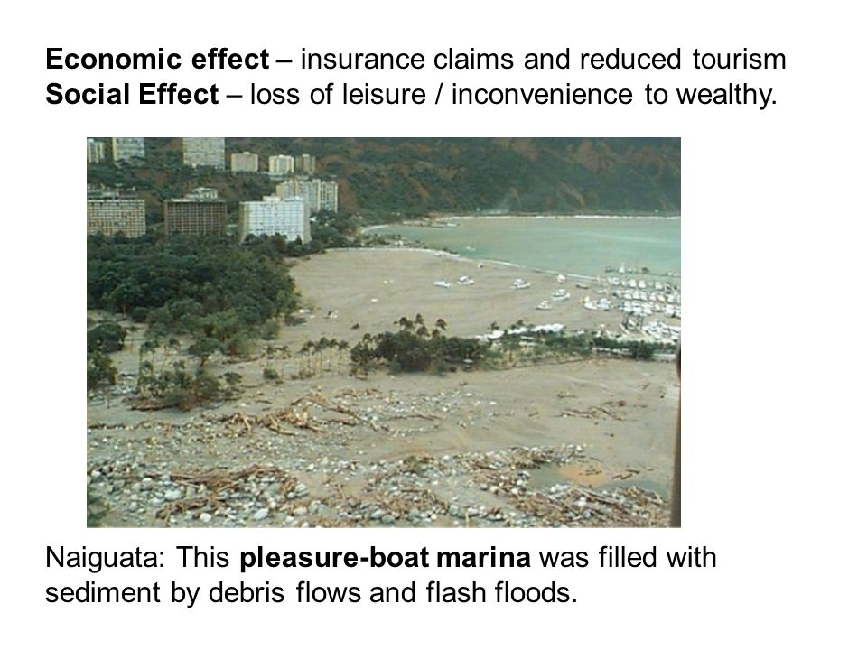 Naiguata: This pleasure-boat marina was filled with sediment by debris flows and flash floods. Economic effect – insurance claims and reduced tourism