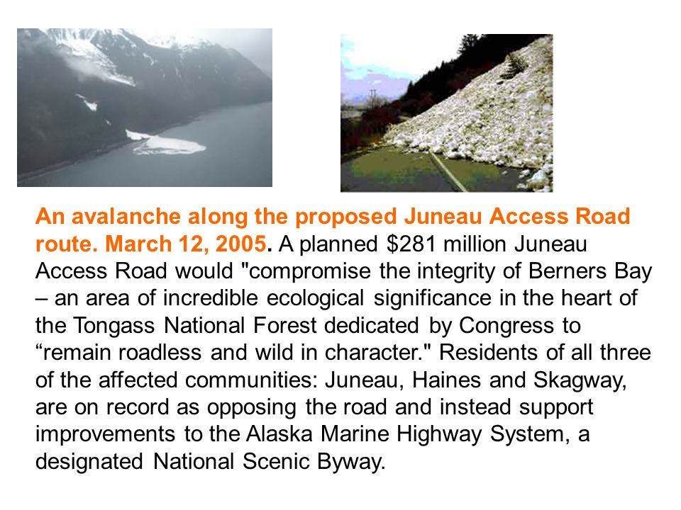 An avalanche along the proposed Juneau Access Road route.