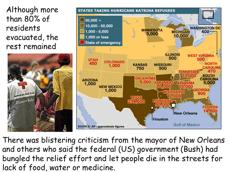 Although more than 80% of residents evacuated, the rest remained There was blistering criticism from the mayor of New Orleans and others who said the
