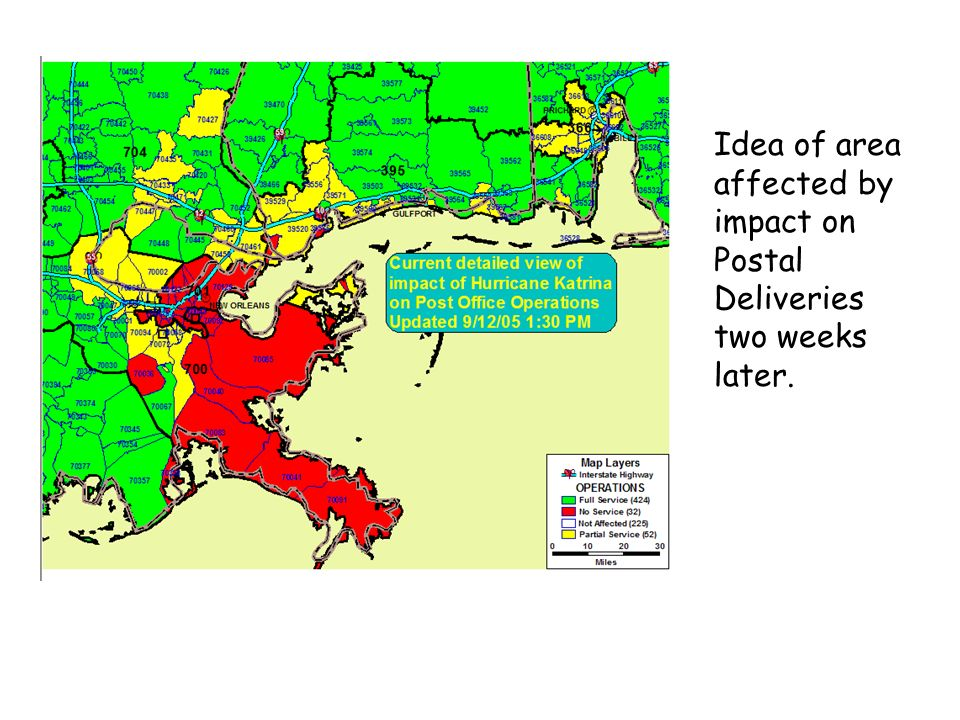 Idea of area affected by impact on Postal Deliveries two weeks later.