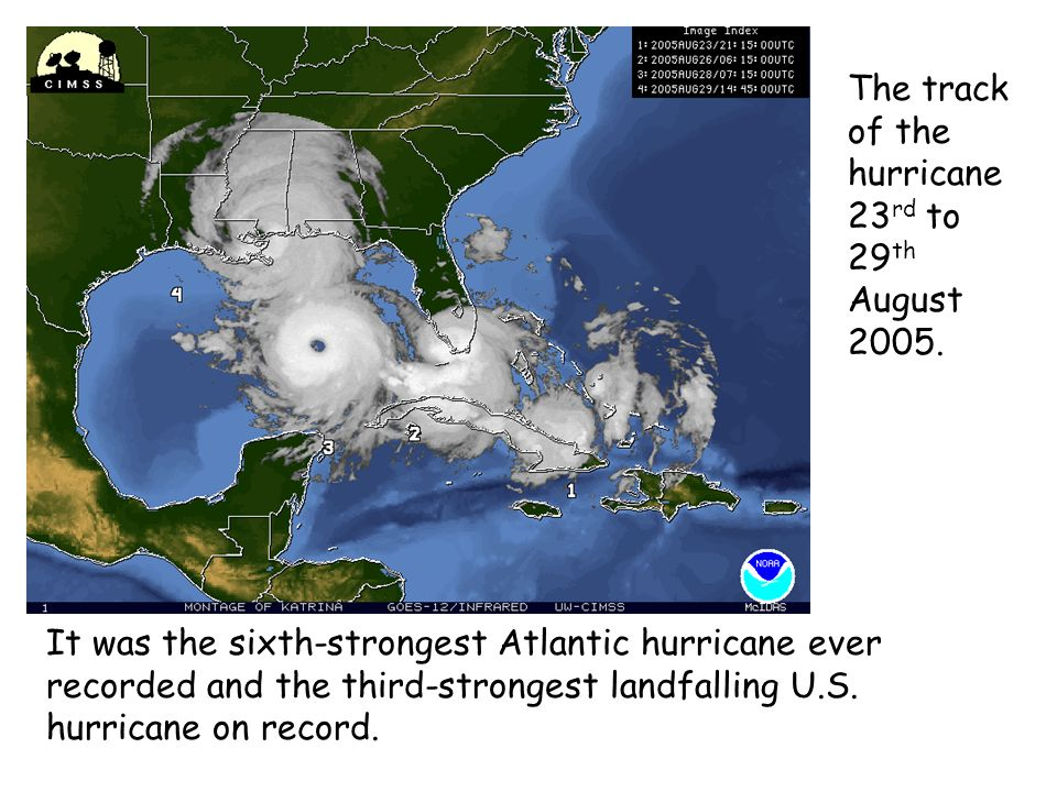 It was the sixth-strongest Atlantic hurricane ever recorded and the third-strongest landfalling U.S. hurricane on record. The track of the hurricane 2