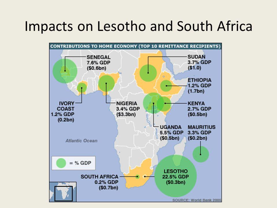 Lesotho Economic 22.5% GDP $0.3 Billion Aids amongst migrant workers – men and women Social.