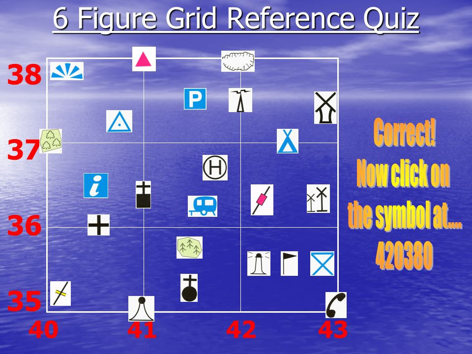 6 Figure Grid Map skills Quiz Reference Quiz 38 37 36 35 40 41 42 43