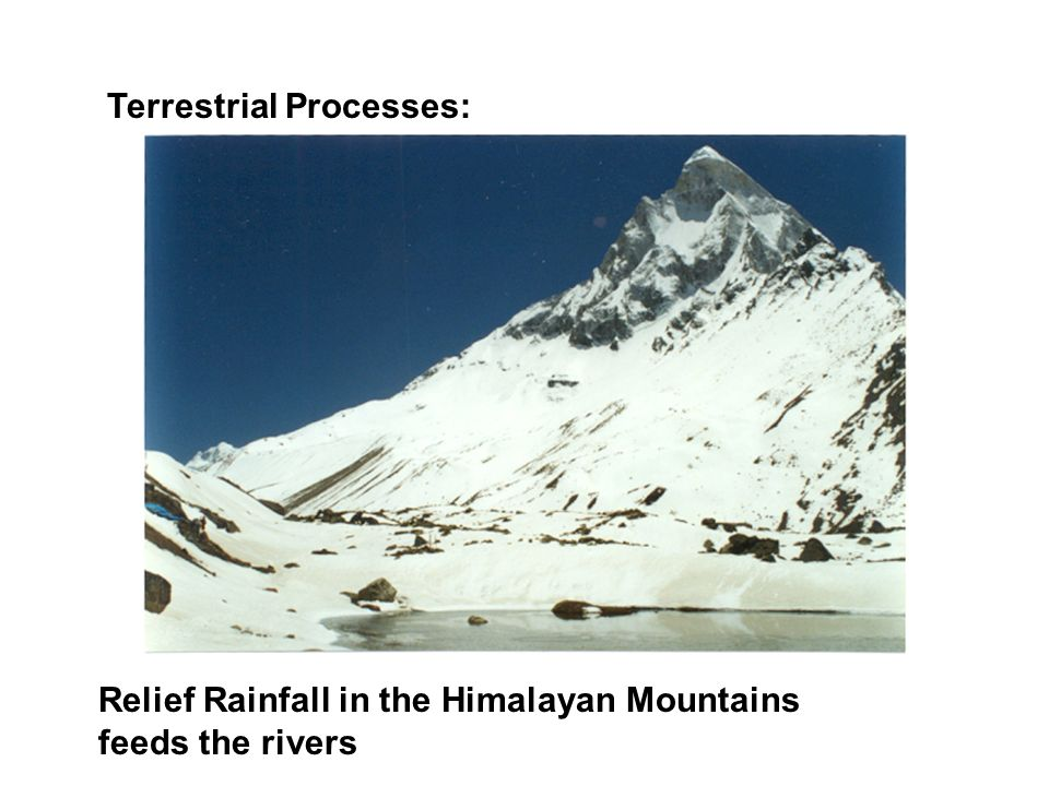 Terrestrial Processes: Relief Rainfall in the Himalayan Mountains feeds the rivers