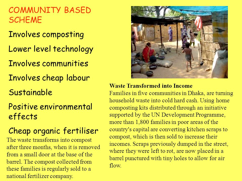 Composting heaps in Dhaka, Bangladesh (Waste Concern 5b Community Based Composting Project (Waste Concern) Eighty percent of Dhaka's garbage - such as