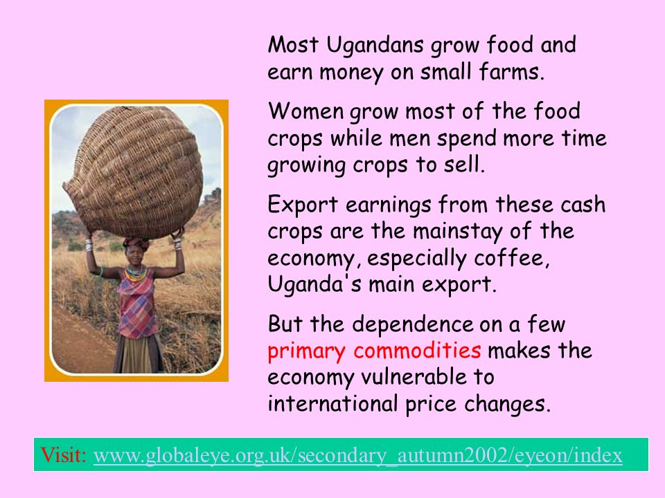 In densely populated Uganda, regional markets cater to as many as 10,000 people per day. Markets provide access to such things as flour, rice, salt, e
