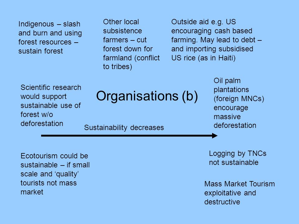Organisations (b) Indigenous – slash and burn and using forest resources – sustain forest Other local subsistence farmers – cut forest down for farmla