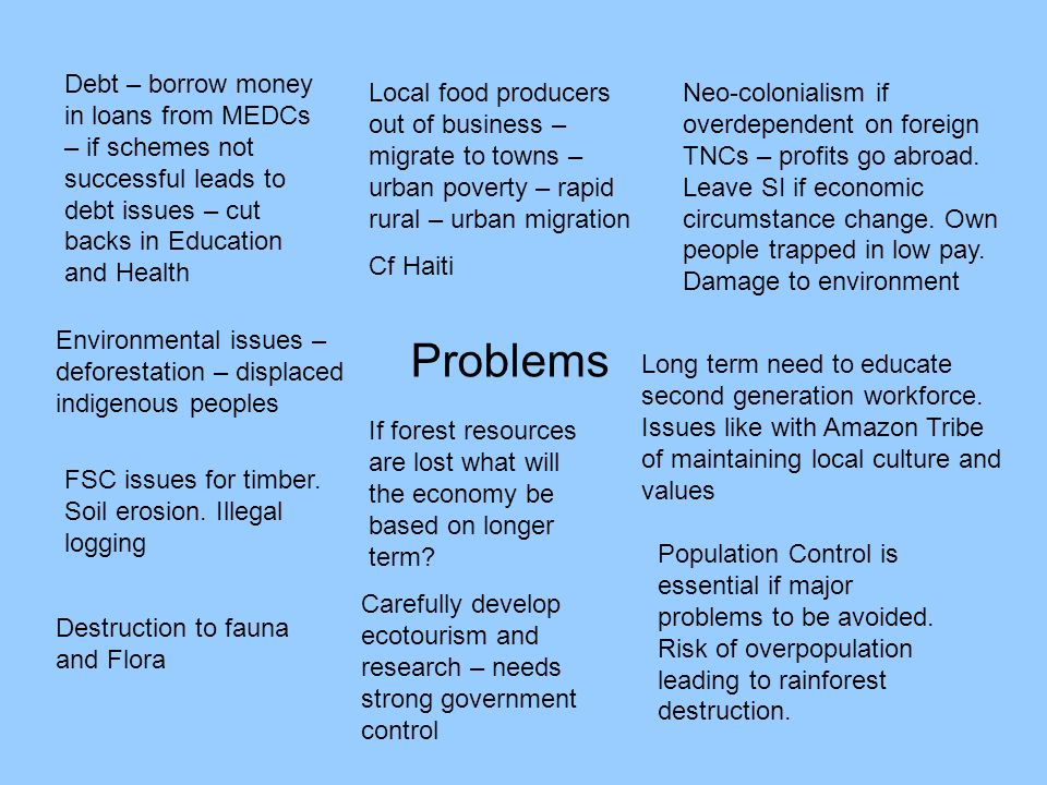 Problems Debt – borrow money in loans from MEDCs – if schemes not successful leads to debt issues – cut backs in Education and Health Environmental is