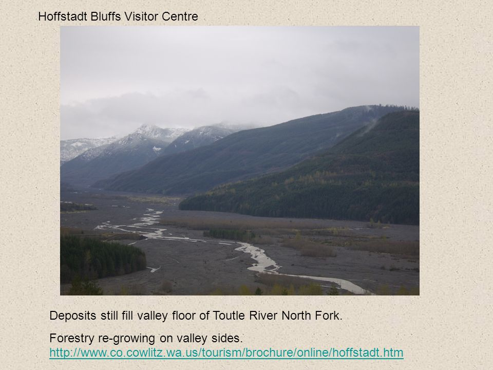 Hoffstadt Bluffs Visitor Centre Deposits still fill valley floor of Toutle River North Fork. Forestry re-growing on valley sides. http://www.co.cowlit