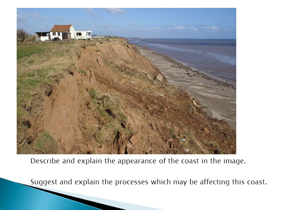 Describe and explain the appearance of the coast in the image.